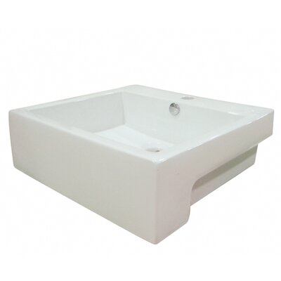 Concord Ceramic Rectangular Wall-Mount Bathroom Sink with Overflow Finish: White