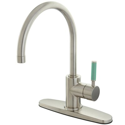 Green Eden Single Lever Handle Kitchen Faucet with Deck Plate Finish: Satin Nickel