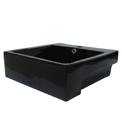 Concord Ceramic Rectangular Wall-Mount Bathroom Sink with Overflow Finish: Black