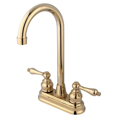 Victorian Double Handle Centerset High-Arch Bar Faucet Finish: Polished Brass