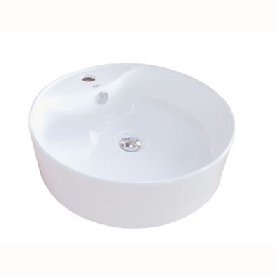 Uno Vitreous Circular Vessel Bathroom Sink with Overflow