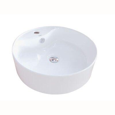 Uno Vitreous Circular Vessel Bathroom Sink with Overflow