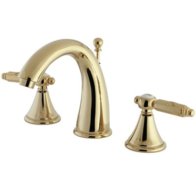 Georgian Double Handle Widespread Bathroom Faucet with Brass Pop-Up Drain Finish: Polished Brass