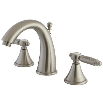 Georgian Double Handle Widespread Bathroom Faucet with Brass Pop-Up Drain Finish: Satin Nickel