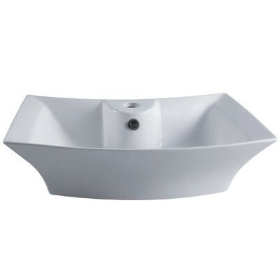 Courtyard Ceramic Rectangular Vessel Bathroom Sink with Overflow