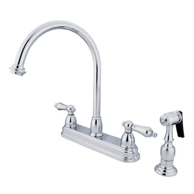 Restoration Double Handle Standard Kitchen Faucet with Brass Spray Finish: Polished Chrome