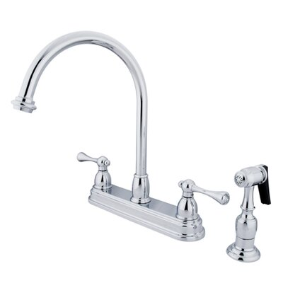 Vintage Double Handle Kitchen Faucet with Brass Spray Finish: Polished Chrome