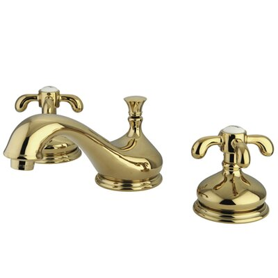French Country Double Handle Widespread Bathroom Faucet with Brass Pop-Up Drain Finish: Polished Brass