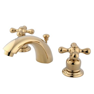 Victorian Double Handle Widespread Mini Bathroom Faucet with Brass Pop-Up Drain Finish: Polished Brass