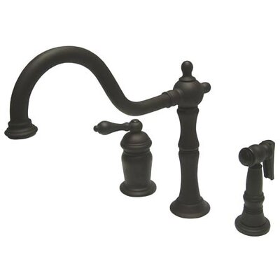 Heritage Single Handle Deck Mount Widespread Kitchen Faucet with Brass Spray Finish: Oil Rubbed Bronze