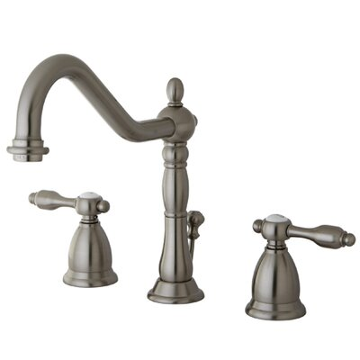 Tudor Double Handle Widespread Bathroom Faucet with ABS Pop-Up Drain Finish: Satin Nickel