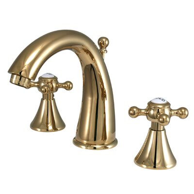 English Country Double Handle Widespread Bathroom Faucet with Brass Pop-Up Drain Finish: Polished Brass