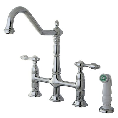 Tudor Double Handle Widespread Kitchen Faucet with Spray Finish: Polished Chrome