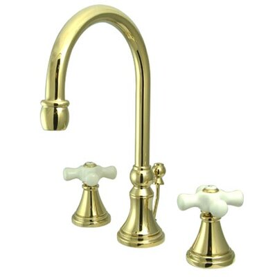 Governor Double Handle Widespread Bathroom Faucet with Brass Pop-Up Drain Finish: Polished Brass