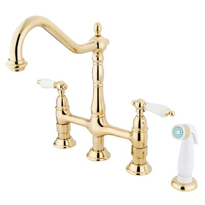 Heritage Double Handle Widespread Kitchen Faucet with Optional Side Spray Finish: Polished Brass