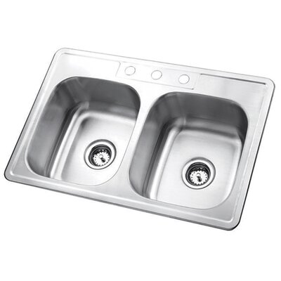 Studio 22 x 33 Gourmetier Self-Rimming Double Bowl Kitchen Sink
