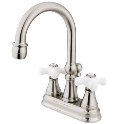 Governor Double Handle Centerset Bathroom Faucet with Brass Pop-Up Drain Finish: Satin Nickel
