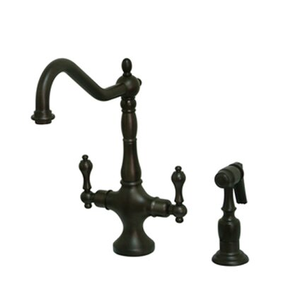 Heritage Double Handle Kitchen Faucet with Optional Side Spray Finish: Oil Rubbed Bronze, Side Spray: With Spray