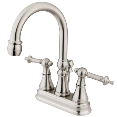 Tuscany Double Handle Centerset Bathroom Faucet with Brass Pop-Up Drain Finish: Satin Nickel
