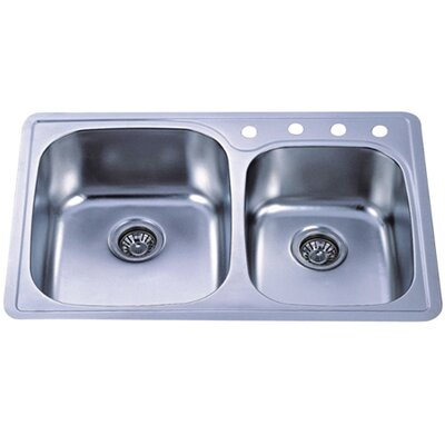Studio 33 x 22 Gourmetier Self-Rimming Double Bowl Kitchen Sink