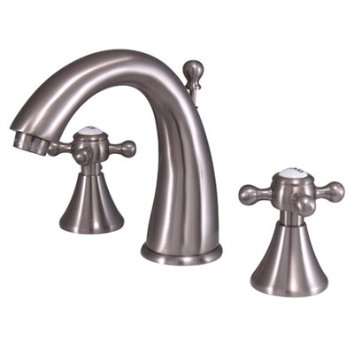 English Country Double Handle Widespread Bathroom Faucet with Brass Pop-Up Drain Finish: Satin Nickel