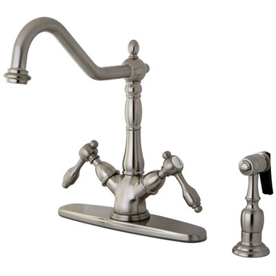 Tudor Double Handle Mono Deck Mount Kitchen Faucet with Brass Spray Finish: Satin Nickel