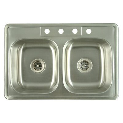 Carefree 33.63 x 22 Double Bowl Self-Rimming Kitchen Sink