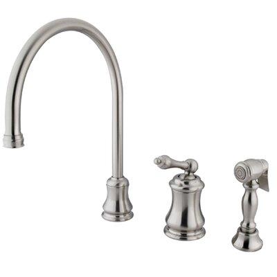 Restoration Single Handle Widespread Kitchen Faucet with Brass Sprayer Finish: Satin Nickel