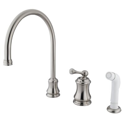 Restoration Single Handle Kitchen Faucet with Side Spray Finish: Satin Nickel