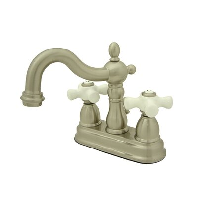 Heritage Double Handle Centerset Bathroom Faucet with Brass Pop-Up Drain Finish: Satin Nickel