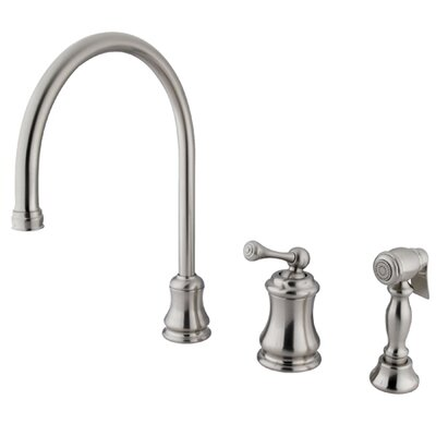 Restoration Single Handle Widespread Kitchen Faucet Finish: Satin Nickel, Side Spray: With Spray