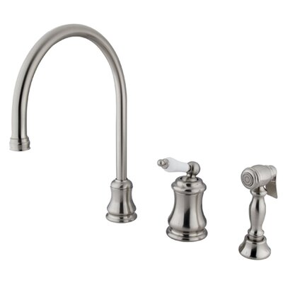 Restoration Single Handle Widespread Kitchen Faucet with Brass Spray Finish: Satin Nickel
