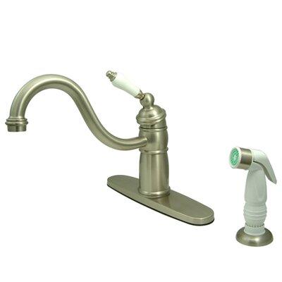 Victorian Single Handle Widespread Kitchen Faucet with Non-Metallic Spray Finish: Satin Nickel