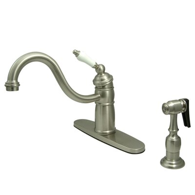 Victorian Single Handle Kitchen Faucet with Brass Spray Finish: Satin Nickel
