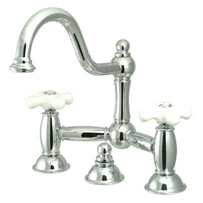 Restoration Double Handle Widespread Bathroom Sink Faucet with Brass Pop-up Finish: Polished Chrome