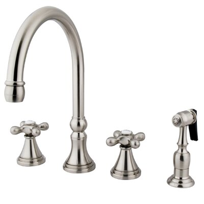 Governor Double Handle Kitchen Faucet with Side Spray Finish: Satin Nickel