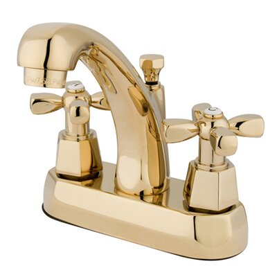 Homestead Double Handle Centerset Bathroom Faucet with Brass Pop-Up Drain Finish: Polished Brass