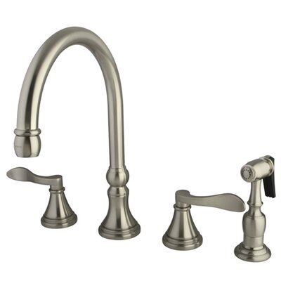 NuFrench Double Handle Deck Mount Kitchen Faucet with Brass Spray Finish: Satin Nickel