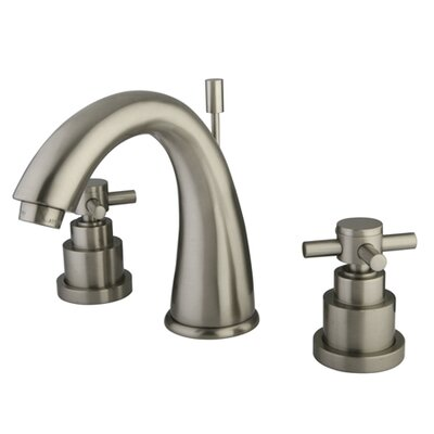 Elinvar Double Handle Widespread Bathroom Faucet with Brass Pop-Up Drain Finish: Satin Nickel