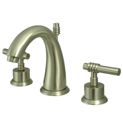 Milano Double Handle Widespread Bathroom Sink Faucet with Brass Pop-up Finish: Satin Nickel