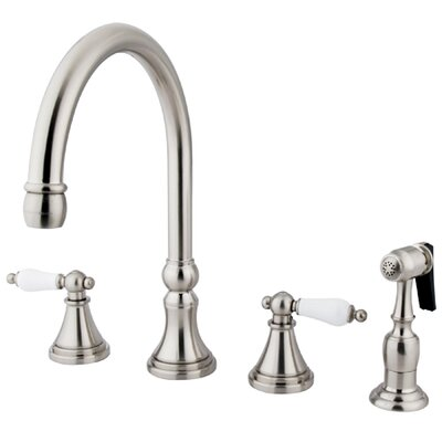 Governor Double Handle Deck Mount Kitchen Faucet with Side Spray Finish: Satin Nickel