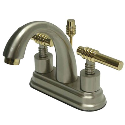 Milano Double Handle Centerset Bathroom Sink Faucet with Brass Pop-up Finish: Satin Nickel/Polished Brass