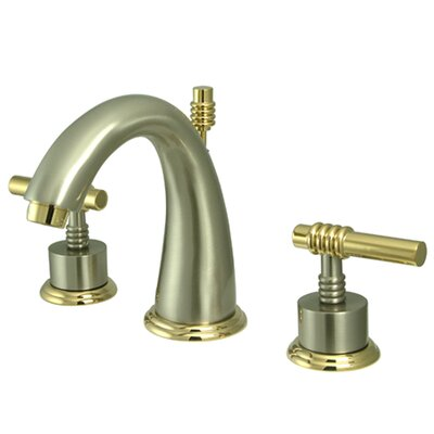 Milano Double Handle Widespread Bathroom Sink Faucet with Brass Pop-up Finish: Satin Nickel/Polished Brass