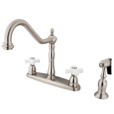 Heritage Double Handle Kitchen Faucet with Side Spray Finish: Satin Nickel