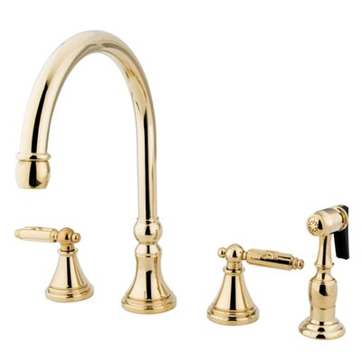 Governor Double Handle Deck Mount Kitchen Faucet with Side Spray Finish: Polished Brass
