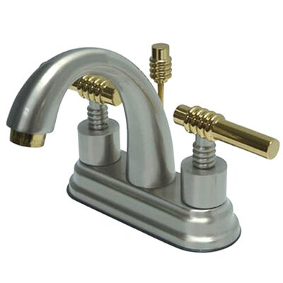 Milano Double Handle Centerset Bathroom Sink Faucet with Brass Pop-up Finish: Polished Chrome/Polished Brass
