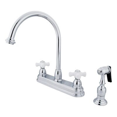 Restoration Double Handle Kitchen Faucet with Brass Spray Finish: Polished Chrome