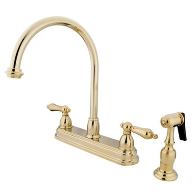 Restoration Double Handle Standard Kitchen Faucet with Brass Spray Finish: Polished Brass
