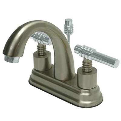 Milano Double Handle Centerset Bathroom Sink Faucet with Brass Pop-up Finish: Satin Nickel/Polished Chrome