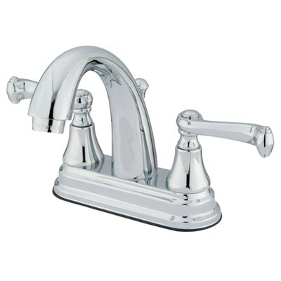 English Vintage Double Handle Centerset Bathroom Faucet with Brass Pop-Up Drain Finish: Polished Chrome